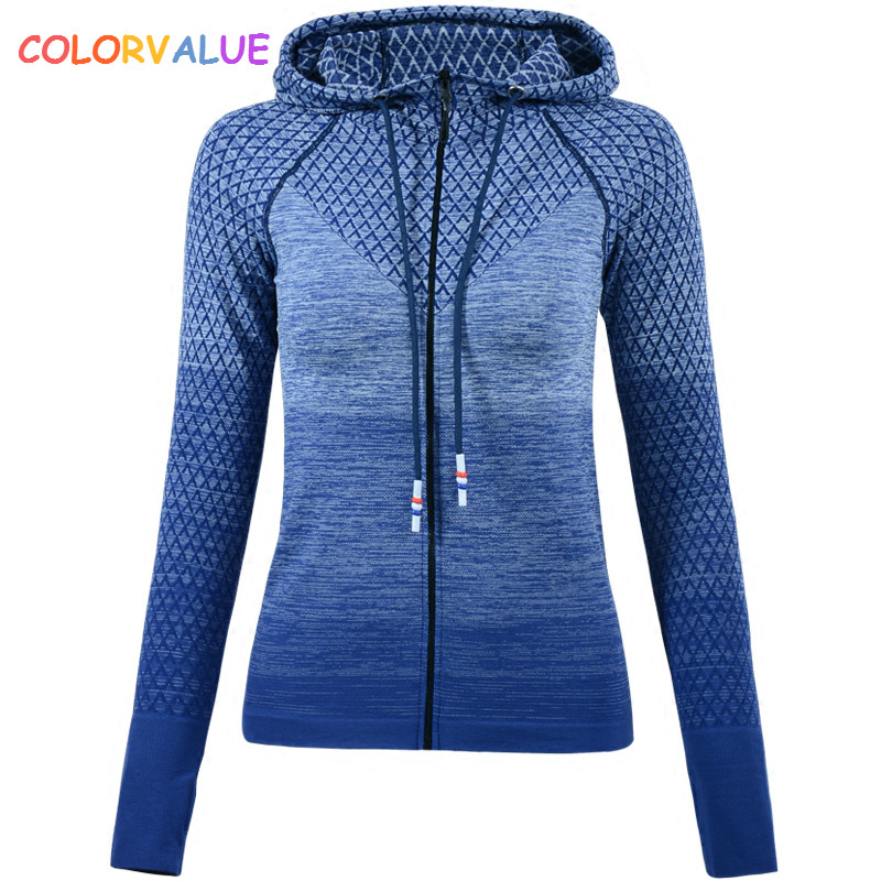 Colorvalue Gradient Color Gym Sport Coat Women Slim Fit Zipper Running Jacket Hooded Fitness Workout Jersey with Thumb Holes latest new printed yoga sport jacket women anti sweat nylon running jogger coat elastic fitness jacket top with thumb holes