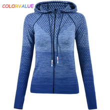Colorvalue Gradient Color Gym Sport Coat Women Slim Fit Zipper Running Jacket Hooded Fitness Workout Jersey with Thumb Holes
