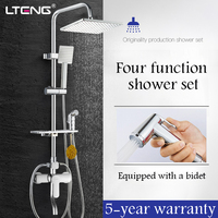LTENG bathroom shower set with women's wash spray gun copper shower faucet ceramic spool rain shower head shower system freeship