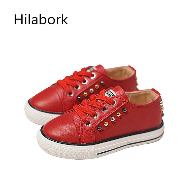 2017 spring new girls sports shoes leather single shoes boy wild leather wear shoes rivets paragraph breathable casual shoes