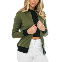 2016 Winter army green bomber jacket women Zipper jacket coat clothes bomber ladies