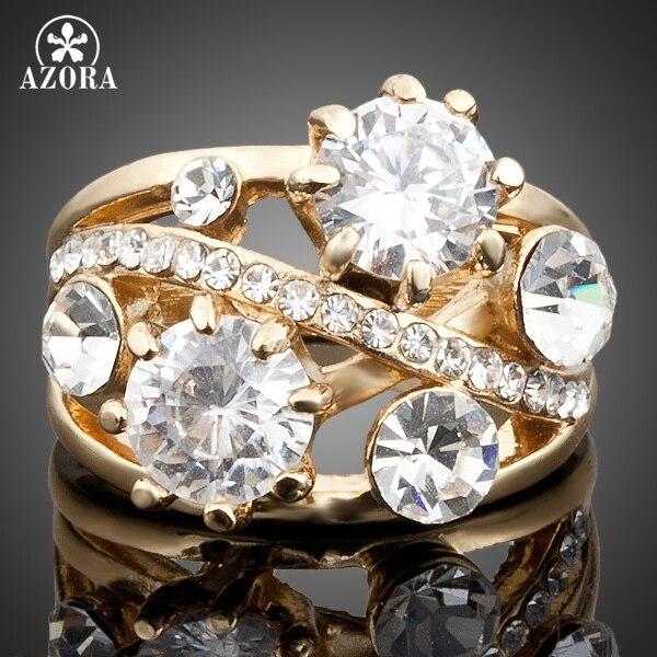 AZORA Gold Color Gorgeous Transparent Stellux Austrian Crystal Ring TR0005