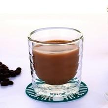 6pcs/lot Caneca Hand Blown Double Wall Whey Protein Canecas Nespresso Coffee Mug Espresso Coffee Cup Thermal Glass 85ml