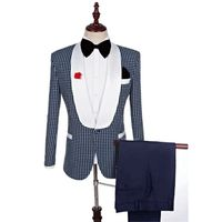 British Style Plaid 2018 New Men's Wedding Banquet Suit
