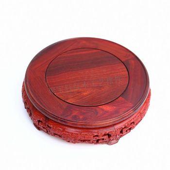 Red Sandalwood Rosewood Carving Handicraft Circular Base of Real Wood of Buddha Stone Vases, Furnishing Articles