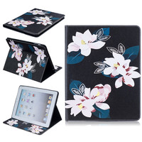 Print Flower For IPad 2 3 4 Case Luxury Stand Smart Leather Case Cover For Apple