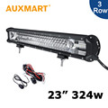 Auxmart 23 inch LED Light Bar 324W Led Bar Triple Row CREE Chips Fit Offroad Light Bar 12V 24V RZR ATV Barra 4WD Tractor 4X4