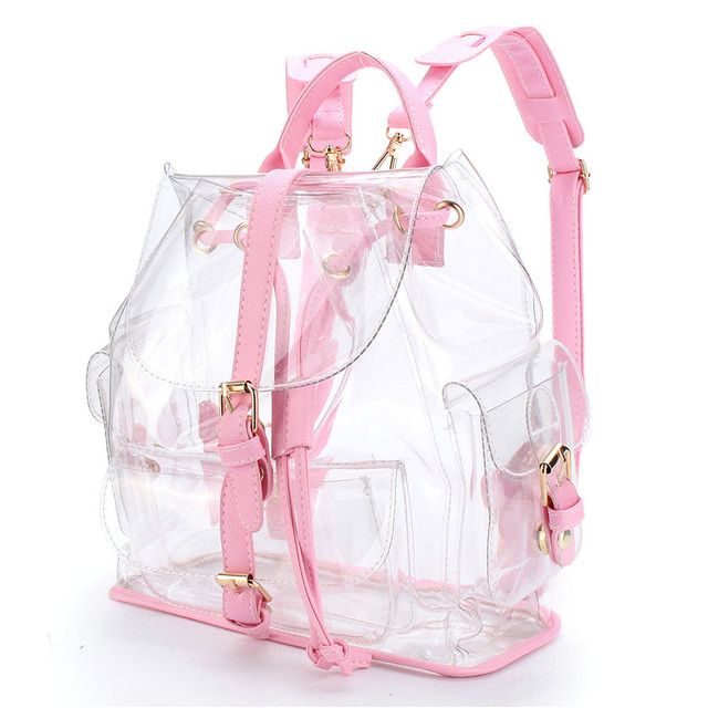 ca714fc11e XINIU Backpack Women s Clear Plastic Transparent Backpack Bag Travel Bag  Drawstring Bag Rucksacks For Girls Sac