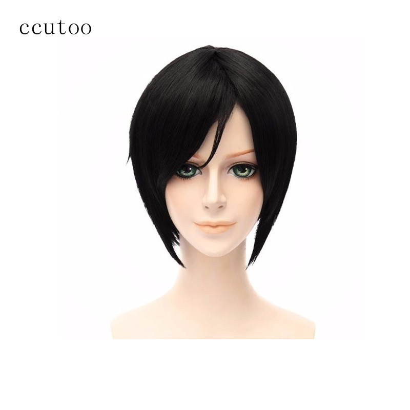 ccutoo 12 Black Short Straight High Temperature Fiber Synthetic Cosplay Full Wigs Hair Party Halloween Wigs