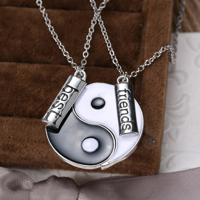Couple jewelry personalized yin yang broken necklaces best friend couple jewelry personalized yin yang broken necklaces best friend hand stamped pendant two pendants necklace for friends gifts in pendants from jewelry mozeypictures Gallery