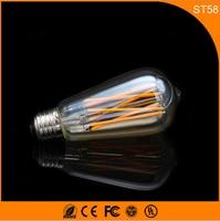 50 шт. 6 Вт e27 b22 светодиодные лампы, ST64 Ретро Винтаж edison накаливания светодиодные Стекло свет лампы, теплый белый Энергосберегающая Лампы для