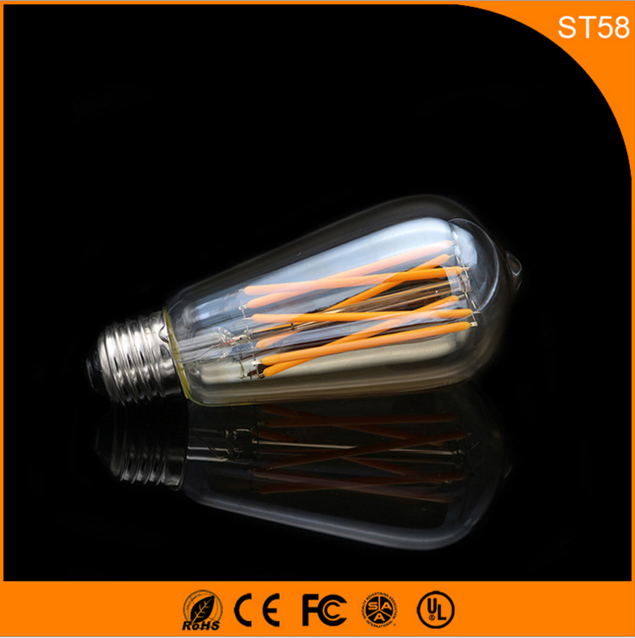 50PCS 6W E27 B22 LED Bulb,ST64 Retro Vintage Edison Led Filament Glass Light Lamp, Warm White Energy Saving Lamps Light AC220V 10ppcs e27 4w edison led filament light candle lamp energy saving bulb warm white