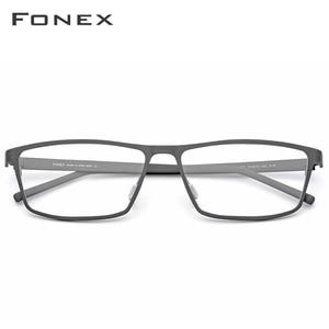 Image 2 - FONEX Pure Titanium Glasses Frame Men 2020 Prescription Eye Glasses for Men Square Eyeglasses Myopia Optical Frames Eyewear 871