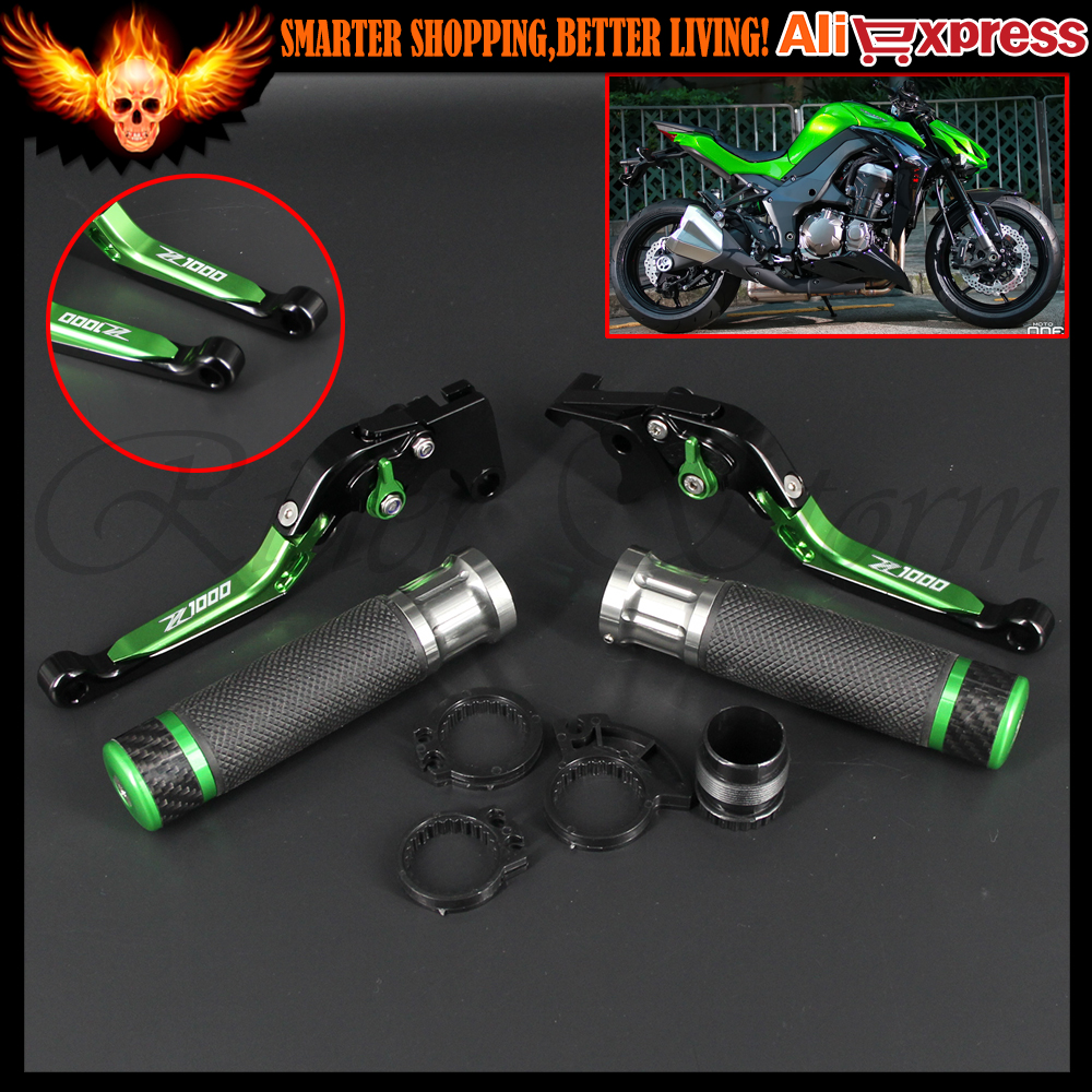 CNC Aluminum Adjustable Motorcycle Brake Clutch Levers and Handlebar Hand Grips Set for Kawasaki Z1000 2007-2016 2013 2014 2015 with z1000 logo motorcycle folding & adjustable brake clutch levers and handle grips for kawasaki z1000 2003 2004 2005 2006