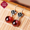 famous brand flowers 925 Sterling silver Red Natural semi-precious stone Garnet red earrings women jewelry girlfriend gift