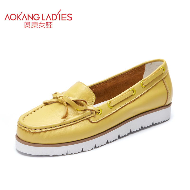 AOKANG 2017 New Arrival Women Flats shoes Brand Women shoes Women Genuine Leather shoes  free shipping aokang 2017 new arrival women flat genuine leather shoes red pink white women shoes breathable and soft free shipping