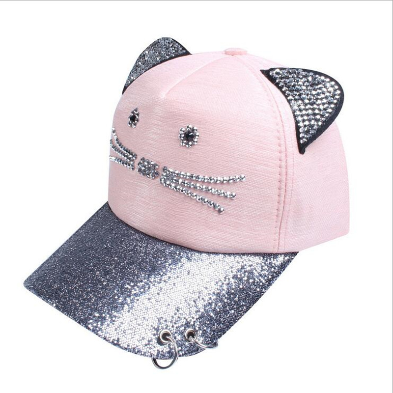 High quality Rhinestone Snapback Cute Cat Ears Cartoon Baseball Cap Women  Casual Sun Hat Gorras Bones Casquette for Woman-in Baseball Caps from  Women s ... be40f25f2189