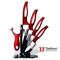 Timhome 3 4 5 6 Inch Ceramic Knife Sets With Holder Stand Free Shipping