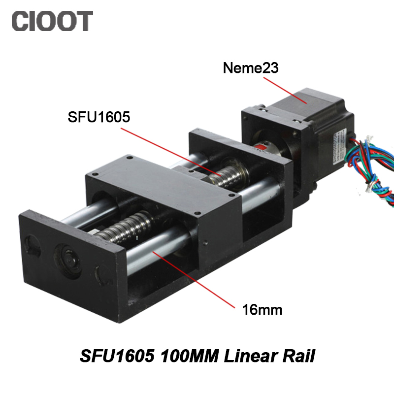 CNC Router Linear Guide Rail Linear Guide Rail 100mm Mould Effective Stroke SFU1605 +Nema23 Stepper Motor For Xyz Cnc Table motorized stepper motor precision linear rail application for labs