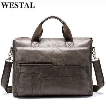 acae97dcdf31 WESTAL сумка Мужская натуральная кожа мужчины сумка Повседневное портфели  для ноутбуков мужские сумки через плечо сумки 8165