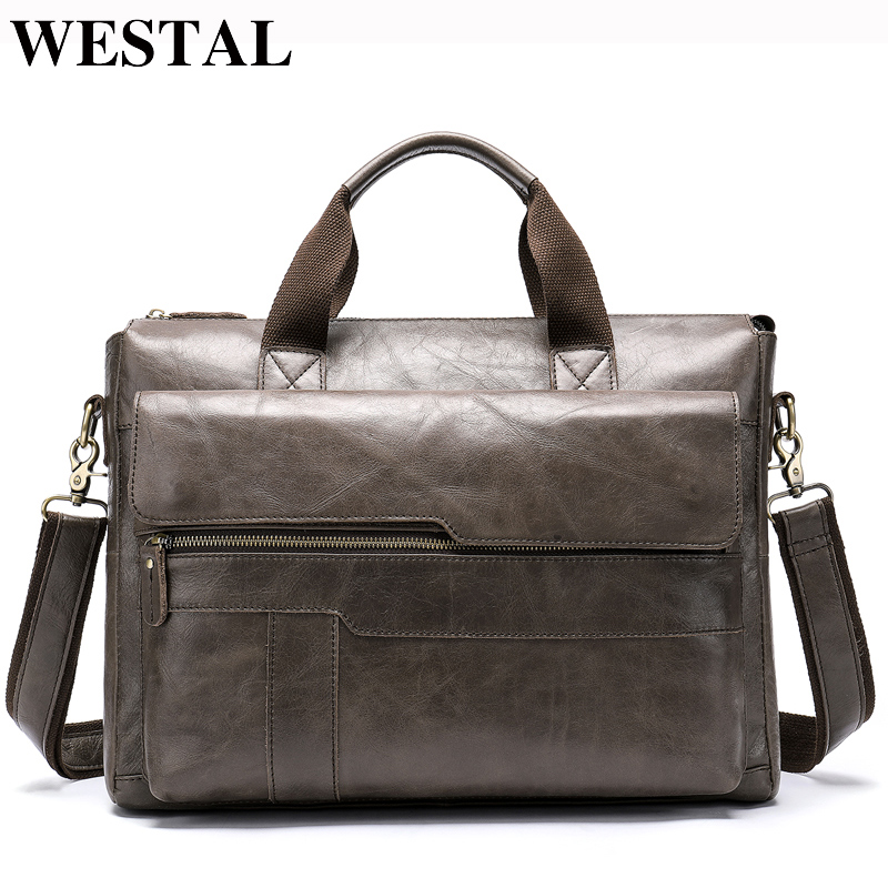 Bagaj ve Çantalar'ten Üstten Saplı Çanta'de WESTAL omuz çantası erkekler hakiki deri erkek omuz çantası Rahat dizüstü evrak çantası erkekler için Crossbody çanta çanta 8165'da  Grup 1