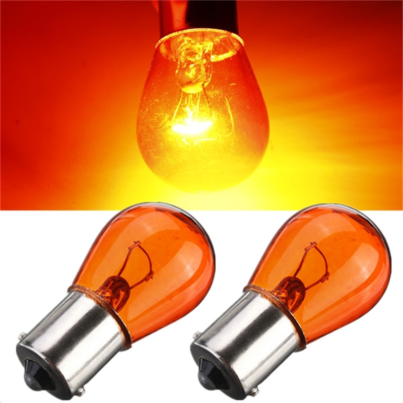 2pcs PY21W 1156 BA15S 581 Amber Yellow Car Auto Scooter Indicator Break Parking Turn Light Bulb Lamp 21W DC12V