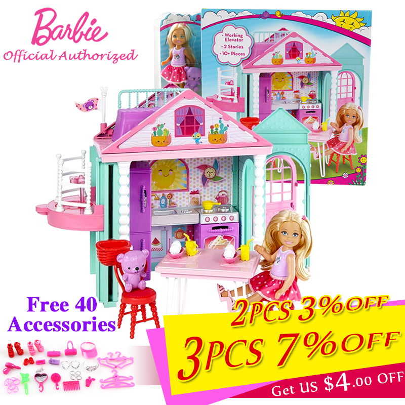 Barbie Girl Little Princess Newest Barbie Doll Purple Soft House Princess Girl Toy Barbie Boneca Set Mode DWJ50 barbie originais hair feature doll house coloring activity american girl dolls barbie dolls brinquedos boneca children gift fbh6