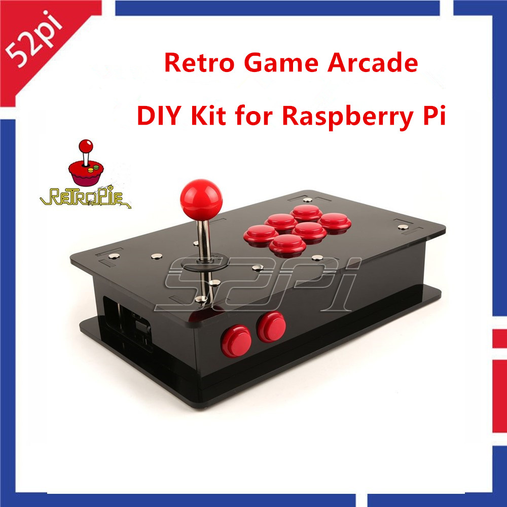52Pi Retro Game Arcade DIY Kit With Joystick Control Board & Buttons & Joystick & Acrylic Box For Raspberry Pi 3 (Not Include)