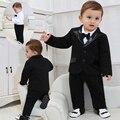 2017 Novas Roupas de Bebê Nascidos Meninos Cavalheiro Roupas Casaco + Bowknot Romper 2 pcs Conjuntos de Roupas de Bebê Menino 1 anos de Aniversário do Menino roupas