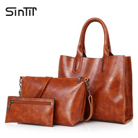 SINTIR 3 Set Famous Brand Women Handbag Shoulder Bags Purse High Quality PU Leather Ladies Shoulder