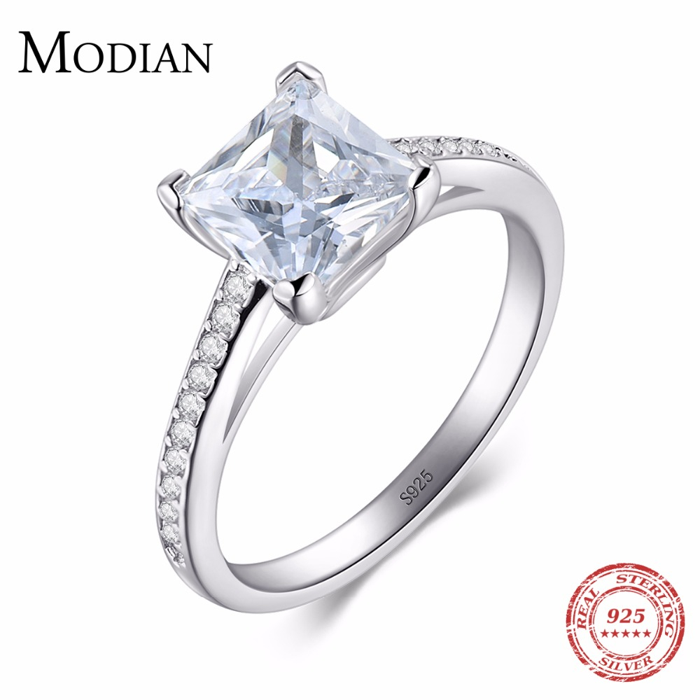 2018 MODIAN Engagement AAAAA Cubic Zircon Mode Rings Nyata 925 sterling silver wedding ring bridal Jewelry untuk wanita