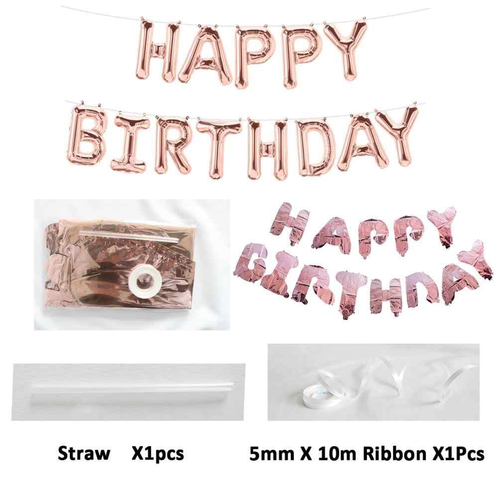 Ballons pour premier joyeux anniversaire | Bannière numéro de Ballon en aluminium, décorations de fête pour bébé garçon et fille 1er, fournitures pour mon an 1 an, or Rose