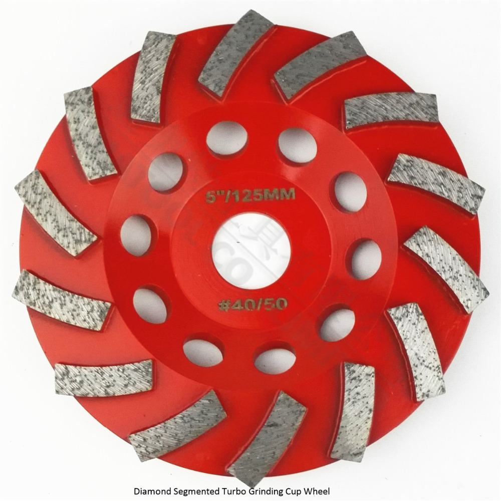 DIATOOL Dia125MM Segmented Turbo Diamond Grinding Cup Wheel For Concrete And Masonry Material, 5 Inch Diamond Grinding Discs 4 inch 6 inch straight cup diamond grinding wheel for glass edger straight line double edging beveling machine m009