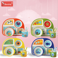 Cartoon Car Shape Baby Tableware Bamboo Safe Dishes for Kids Baby Feeding Gift for Children Bowl Dishes T0053