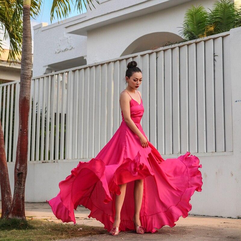 Le palais vintage 2018 été vacances longue robe étage longueur volants décoration mariage Slim taille haute côté fentes robe