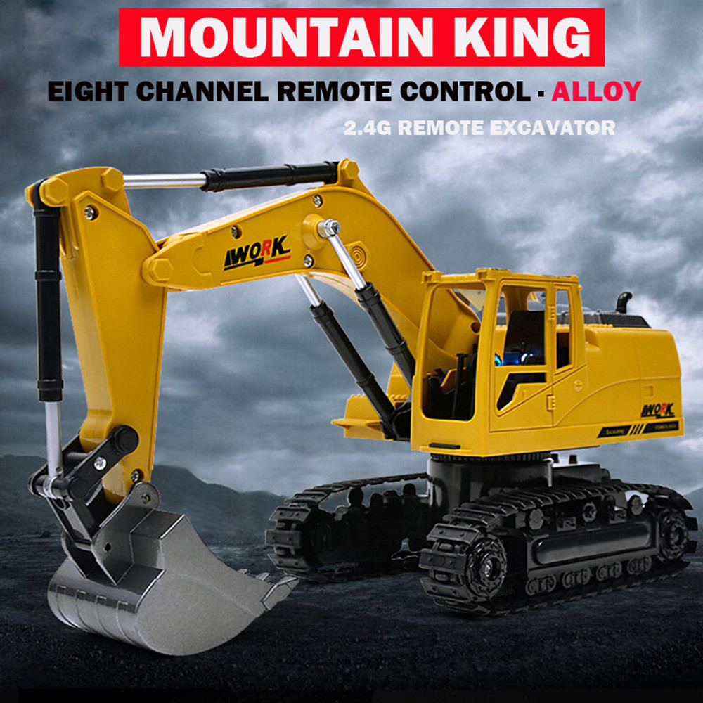 Heavy Metal Excavator Model Free Wheeler Die Cast Construction Toy 1:24 <font><b>Scale</b></font> Drop Shipping new arrival image