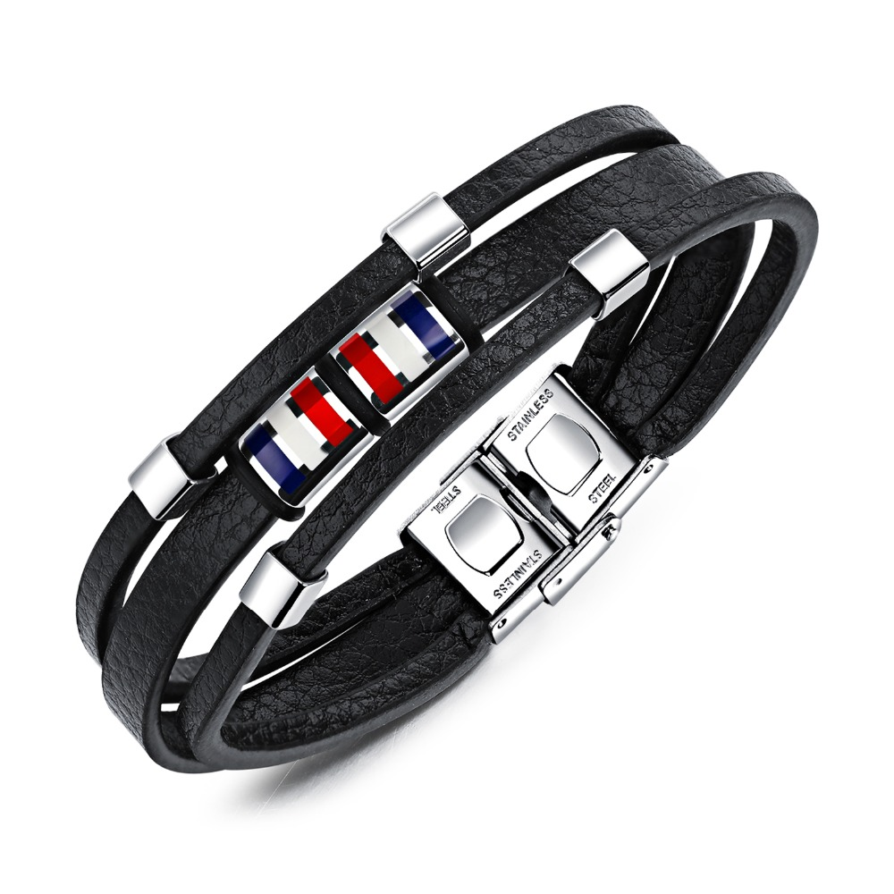 Fashion personality multi-layer black woven leather rope high quality vintage titanium steel men's bracelet holiday gift3-PH1218