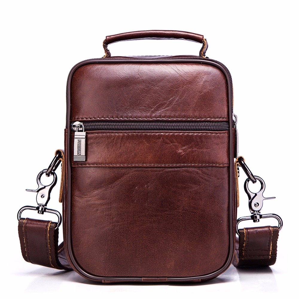 FUZHINIAO Brand Large Capacity Men Messenger Bags Handbag For Man Genuine Leather Shoulder Bag Crossbody Brown Business Casual