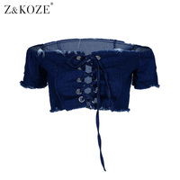 Z KOZE Sexy Deep V Neck Lace Up Jeans Cropped T Shirt Women Cool Punk T