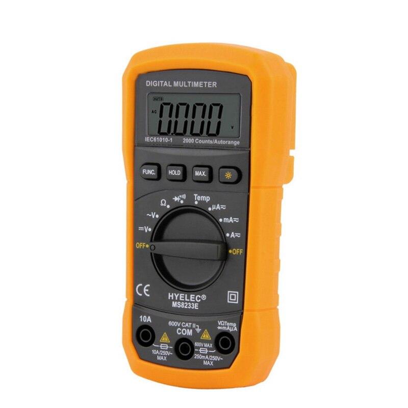 LCD Numérique Mètre Multimètre AC DC Ampèremètre Tension Multitester Testeur PEAKMETER MS8233E