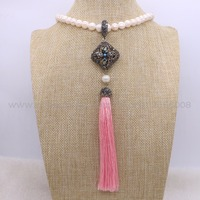 2Pcs Natural Pearl Necklace Clover Pattern CZ Bead Long Pink Silk Tassel Pendant Bead Chain Necklace