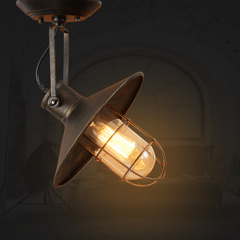 Vintage Led Loft Ceiling Light Creative Iron Metal Hanging Lamp Fixture American Bedroom Retro Decorative Ceiling Lamps Lighting