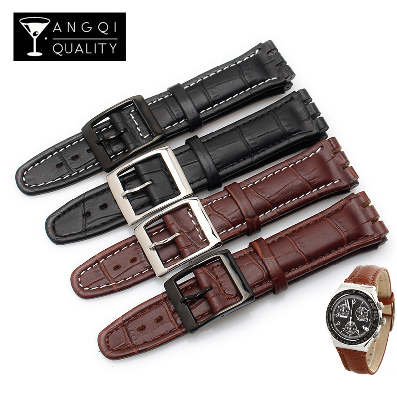 17MM 19MM Genuine Calf Leather Watch Band Steel Clasp For Swatch Watch YRS YCS Strap Watchband Bracelet Man Fashion Wrist +Tools-in Watchbands from Watches