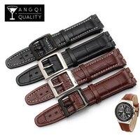 17MM 19MM Genuine Kalb Leder Uhr Band Stahl Verschluss Für Swatch Uhr JAHRE YCS Armband armband Armband Mann mode Handgelenk + Werkzeuge