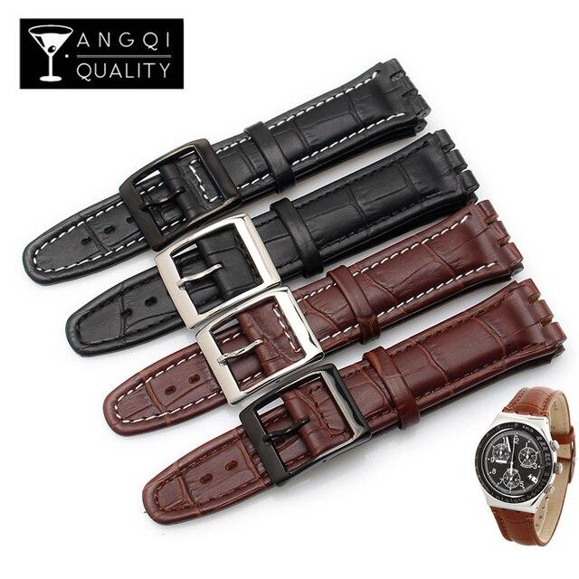 Fermoir en cuir de veau véritable, 17MM 19MM, en acier Bracelet de montre, pour montre Swatch YRS YCS, Bracelet de montre, à la mode pour hommes, poignet + outils