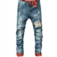 Men's Hole Stretch Biker Jeans Fashion Designer Brand 2017 New Skinny Ripped Paint Distressed Destroyed Pencil Jeans