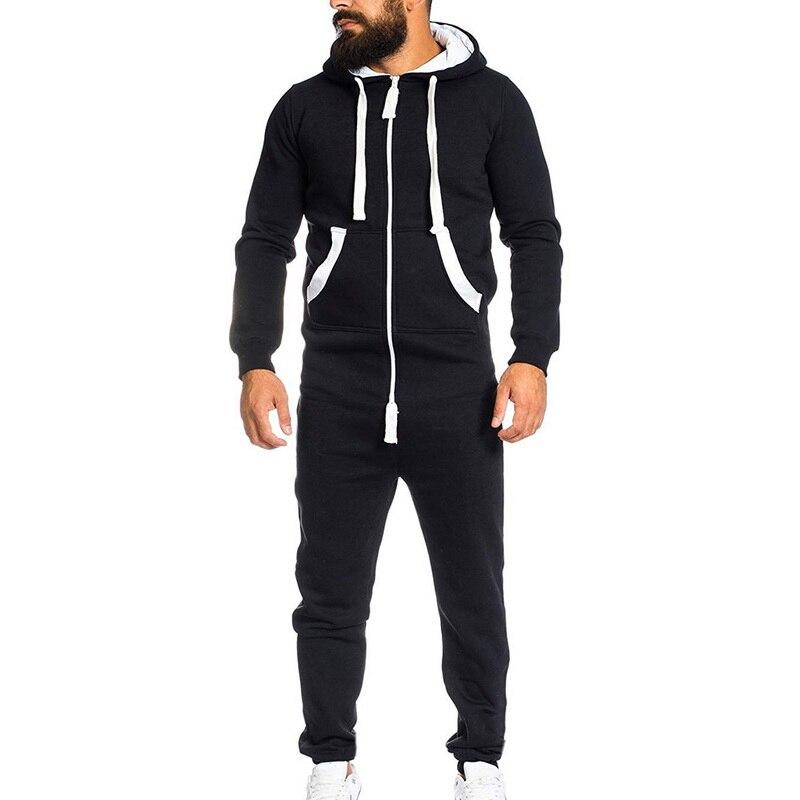 MoneRffi Men Solid Hooded Jumpsuit 3XL Male Casual Warm Padded Sportwear Jumpsuit Fluffy Sleep Lounge Adult Sleepwear