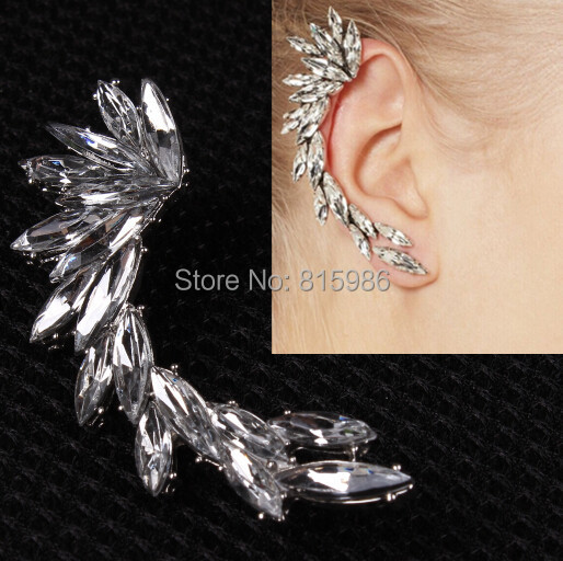 Wholesales 10pcs/lot Fashion Jewelry Shine Rhinestone Wing Ear Cuff Clip Ring Right one Earrings Without Piercing Ear Stud