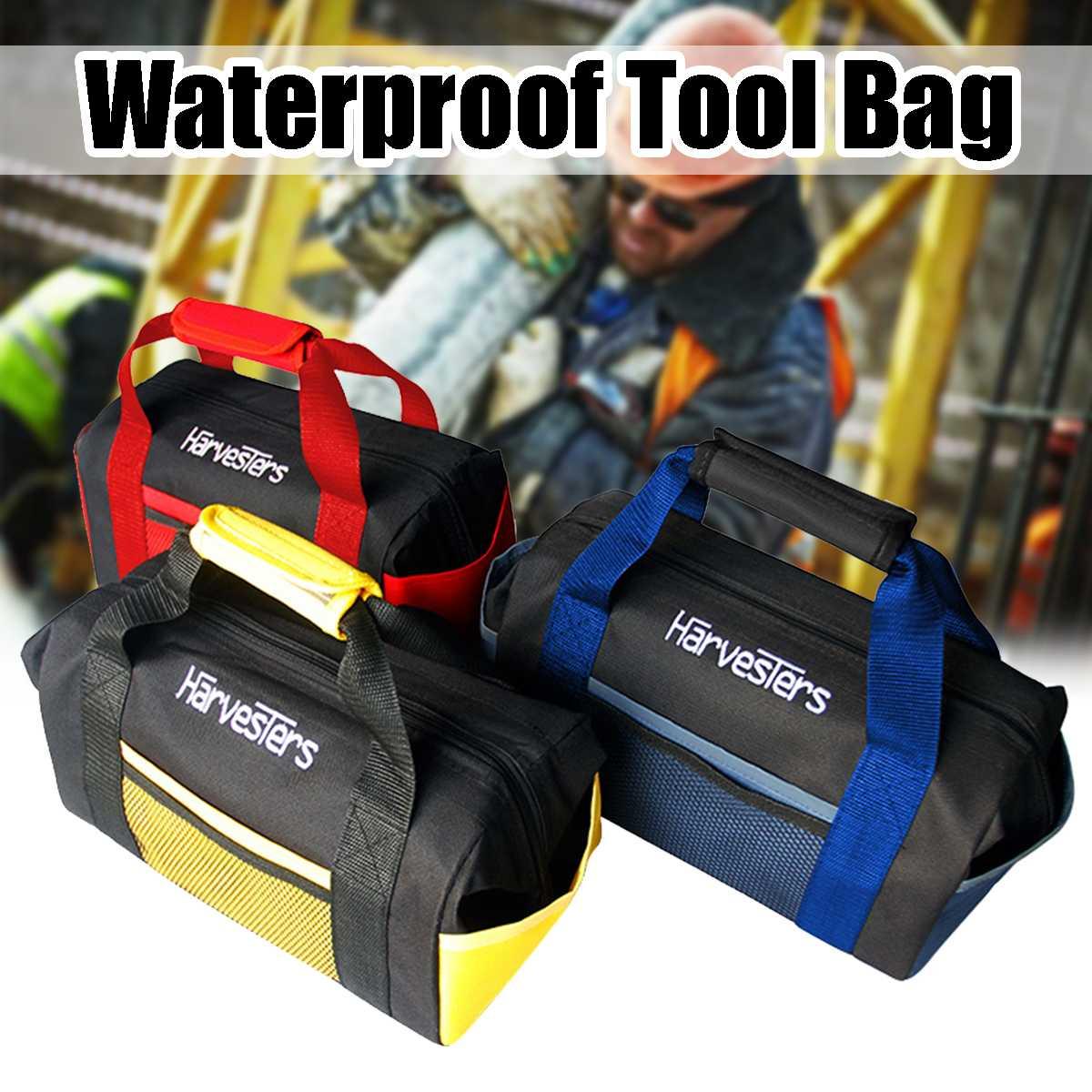 Tool Bag Handheld Durable Waterproof Tool Bags Repair Tools Kit Electrician Work 8 Pockets Portable Zipper Power Tools Storage