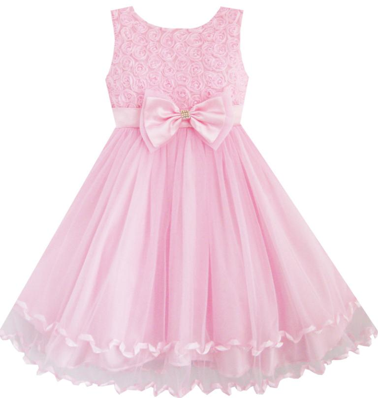Flower Girl Dress Pink Rose Bow Tie Belt Wedding Birthday Party Kids Clothes 2017 Summer Princess Dresses Size 2-10 Pageant 2016 summer hot girls rose golden wide belt dress children floral formal dress birthday party dress red white pink 6 size